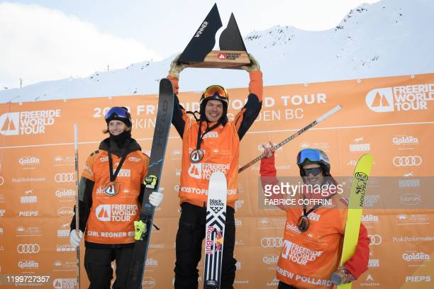 This image taken on February 7 2020 shows the podium of the Men's freeride ski competition second placed Carl Regner Eriksson of Sweden winner...