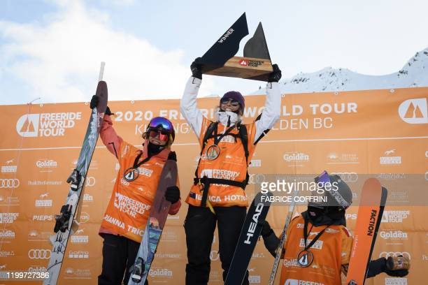 This image taken on February 7 2020 shows the podium of the women's freeride ski competition second placed Arianna Tricomi of Italy winner Jessica...