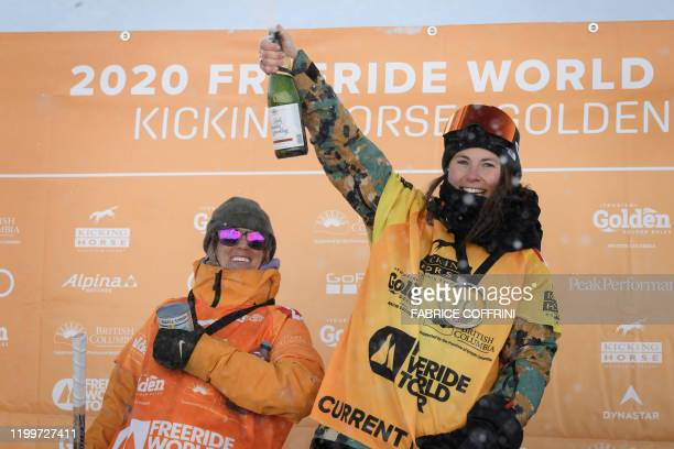 This image taken on February 7 2020 shows the podium of the Women's freeride snowboard competition second placed Claudia Avon of Canada and winner...