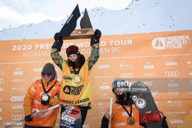 This image taken on February 7 2020 shows the podium of the Women's freeride snowboard competition second placed Claudia Avon of Canada winner Marion...