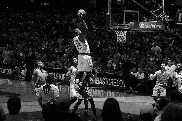 more photos 9fdca 7d96a CLEVELAND, OH - JUNE 8      Note to user    This image was converted to  black and white. LeBron James  23 of the Cleveland Cavaliers goes up for a  dunk ...