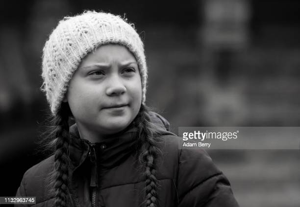 This image was converted to black and white Teenage Swedish activist Greta Thunberg demonstrates with high school students against global warming at...