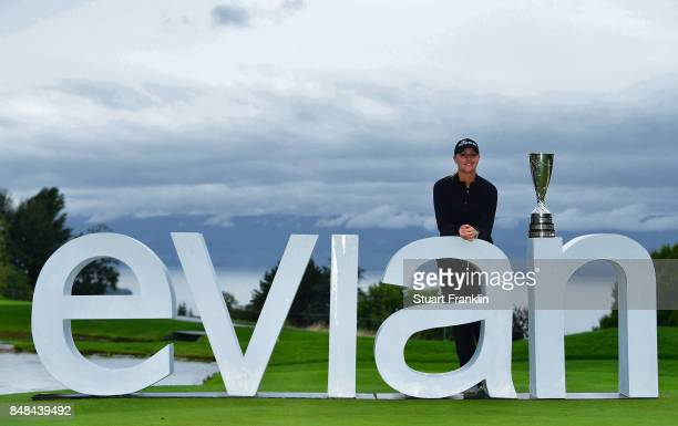 NOTE This image was created with a graduated neutral density filter Anna Nordqvist of Sweden holds the trophy after winning during the play off after...