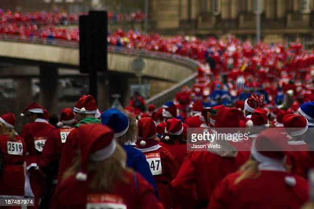 This image was shot from the bottom of flyover & captures hundreds of santa's taking part in Liverpool's annual Santa Dash.