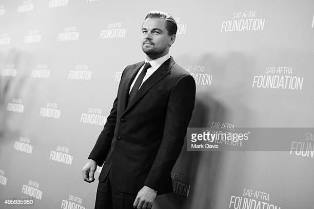 This image was shot in black and white] Honoree Leonardo DiCaprio attends the Screen Actors Guild Foundation 30th Anniversary Celebration at Wallis...