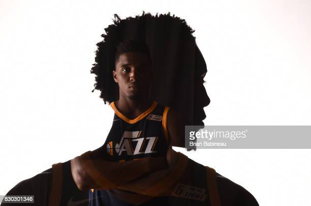 This image was shot with double exposure Donovan Mitchell of the Utah Jazz poses for a photo during the 2017 NBA Rookie Photo Shoot at MSG training...