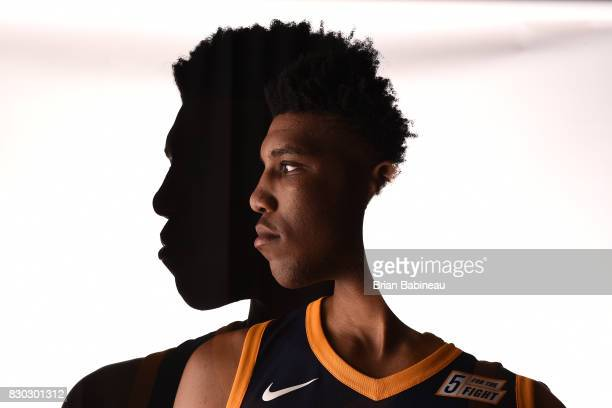 This image was shot with double exposure Tony Bradley of the Utah Jazz poses for a photo during the 2017 NBA Rookie Photo Shoot at MSG training...