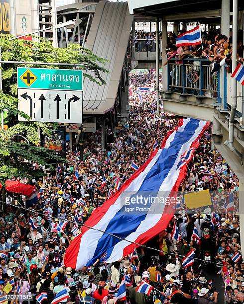 """This image was taken on 22 December 2013 on Silom Road, the first major """"shutdown"""" by the anti-Thaksin group and a precursor to today's..."""