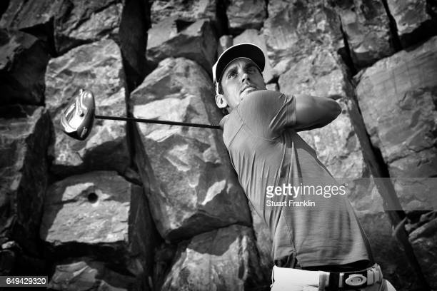 This images was converted into black and white from a color original.) Rafa Cabrera Bello of Spain poses for a picture during the pro am prior to the...