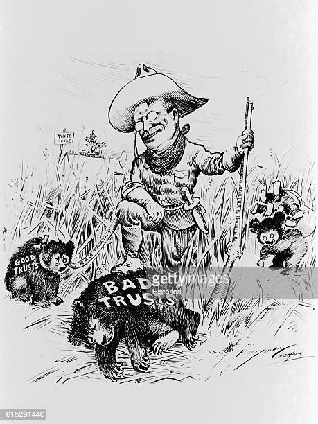 This ink drawing by Clifford Berryman was published in The Evening Star on October 11 1907 The drawing is a political cartoon of Theodore Roosevelt's...