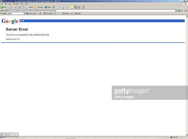 This Internet frame grab shows a server error message widely encountered on July 26 2004 when using the Google search engine page Google a popular...