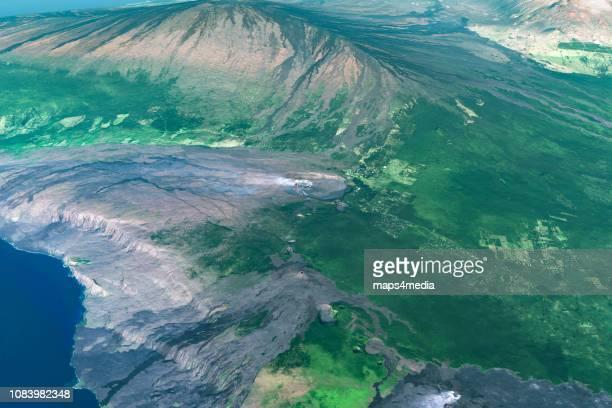 This is 3d enhanced satellite image of Mount Kilauea on the big island of Hawaii.