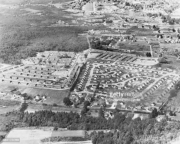 This is a 1948 photograph showing the Broadview housing development on the left and Stanwood Park on the right Broadview was a temporary housing...
