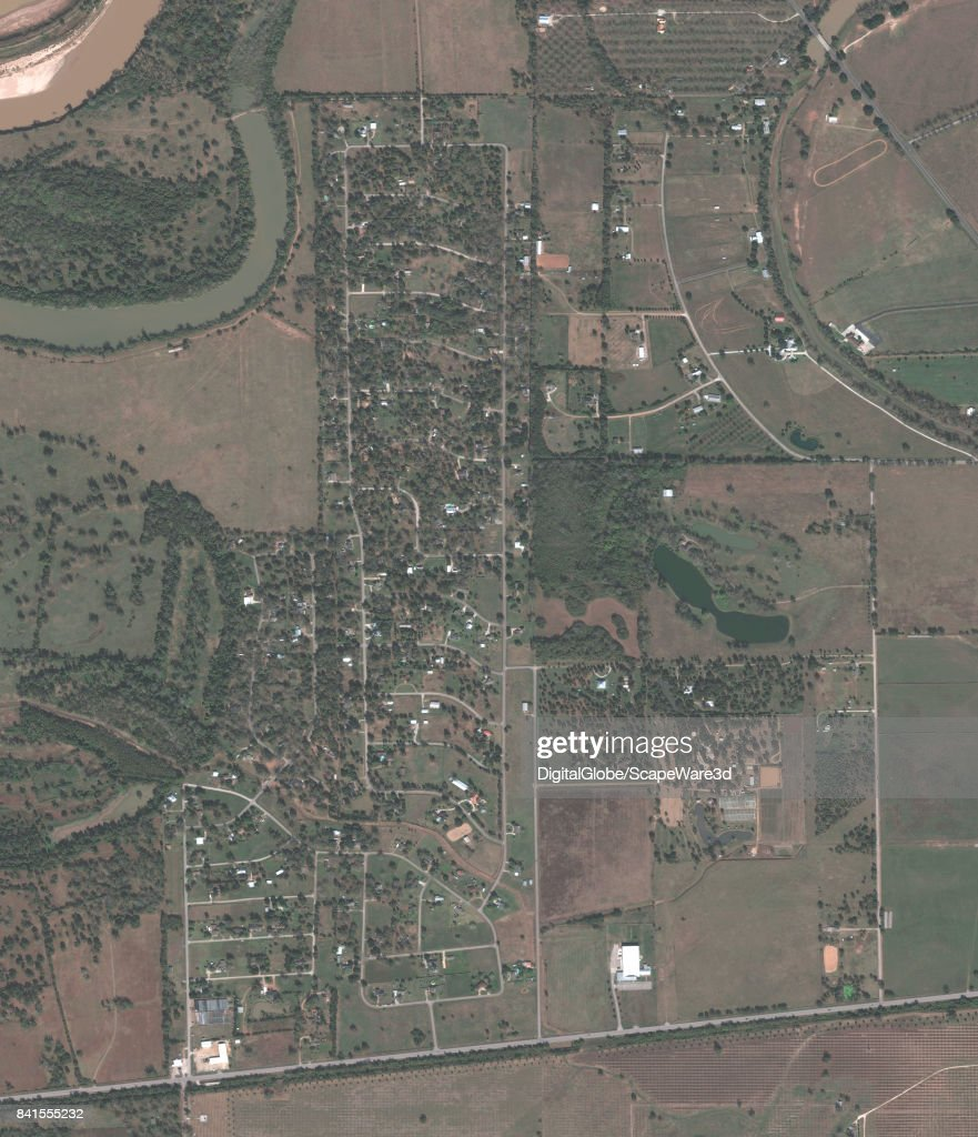 This is a 'before' DigitalGlobe satellite imagery of a neighborhood in Simonton, Texas -- before Hurricane Harvery.