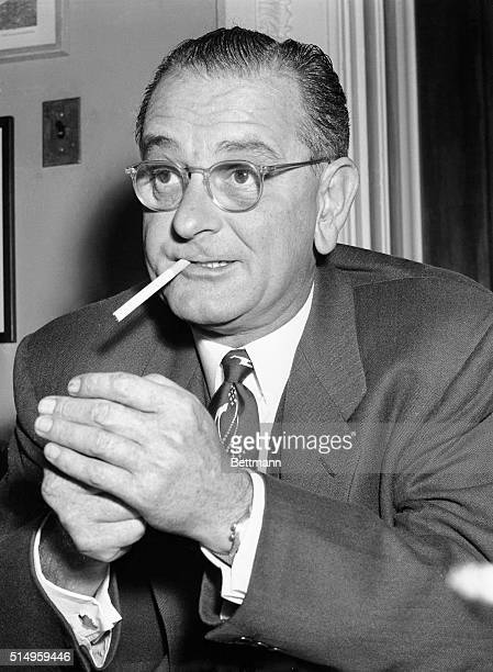 This is a candid view of a man who is slated to be a very important figure in the Washington picture in the very near future He's Senator Lyndon...