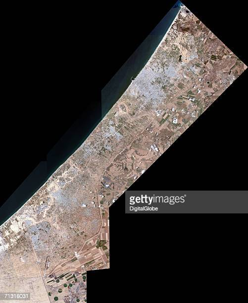 This is a collection of satellite images over Gaza Strip