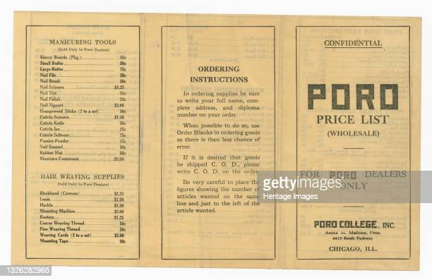 This is a confidential Poro Price List pamphlet for Poro dealers. The pamphlet is black type on cream colored paper, folded in thirds. The front...