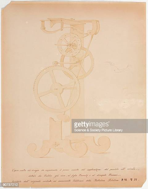 This is a copy of the drawing made in 1659 by Galileo's friend and biographer Viviani of an incomplete design for a pendulum clock which Galileo made...