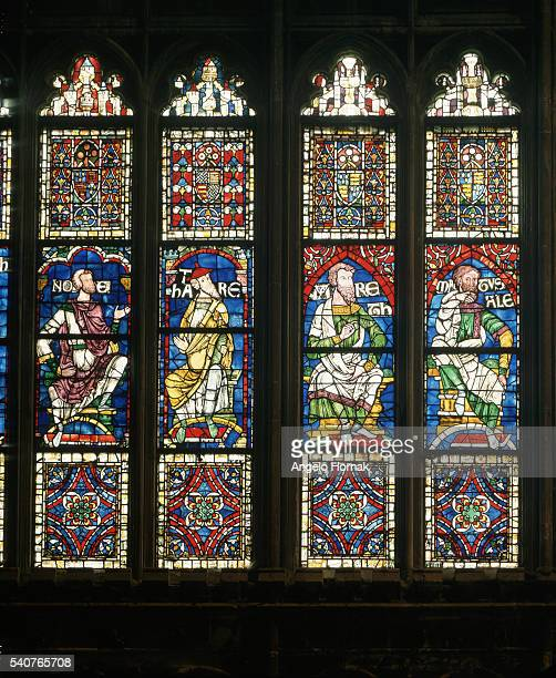 This is a detail from the Great South Window in Canterbury Cathedral The window is dated to the twelfth century and includes panels which were...