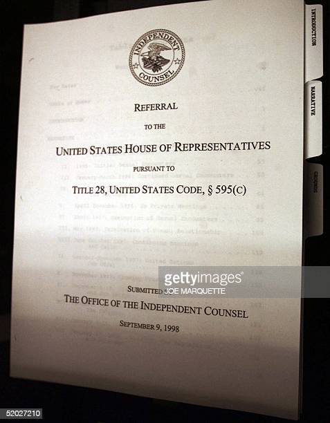 This is a detail photo of Independent Counsel Kenneth Starr's report to the Congress of the United States as it rolls off a copy machine 11 September...