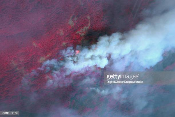 CREEK OREGON WILDFIRE SEPTEMBER 13 2017 This is a DigitalGlobe infrared satellite imagery of the wildfire in and around Eagle Creek Oregon The red...