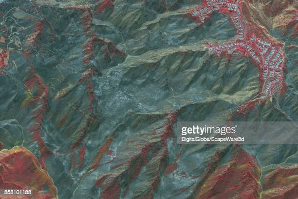 CORONA CALIFORNIA WILDFIRE SEPTEMBER 27 2017 This is a DigitalGlobe via Getty Images infrared satellite imagery following the wildfire in and around...