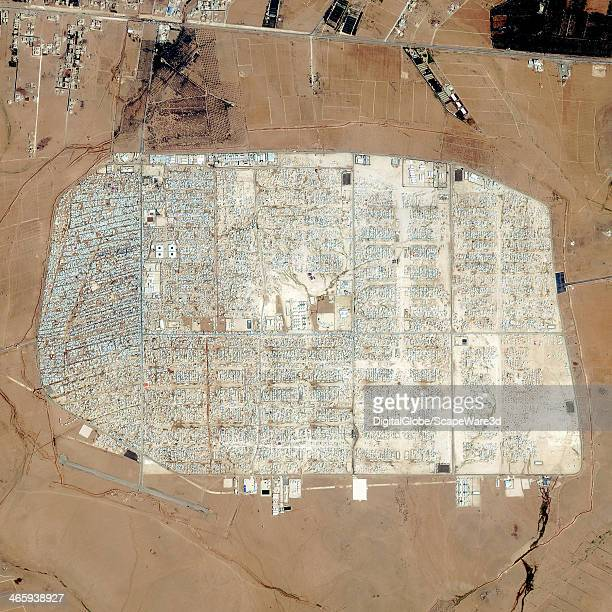 This is a DigitalGlobe satellite image showing the Rapid Growth of th largest camp for Syrian refugees Imagery collected on January 23th 2014