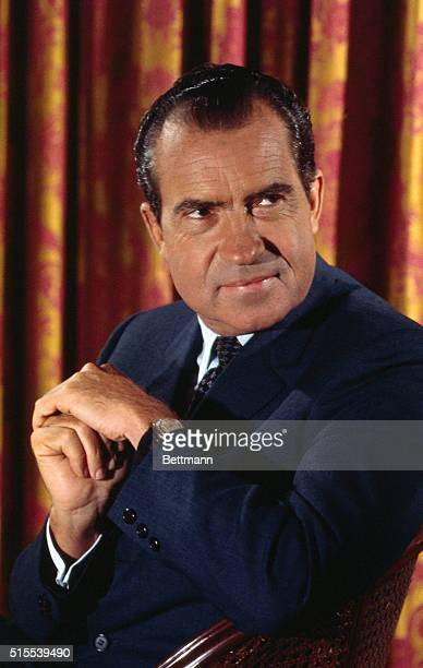This is a formal portrait of Richard M. Nixon, who seeks the Republican Presidential nomination while at the Hotel Drake.