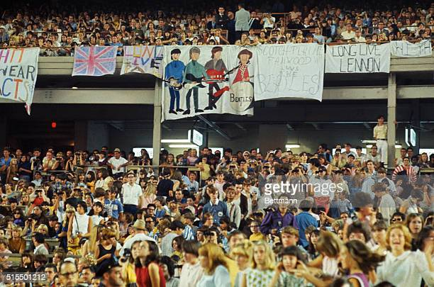 This is a general view of fans attending a Beatles concert at Shea Stadium circa 1965