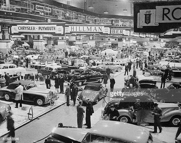 This is a general view of some of the new cars on display at Earl's Court London where the 39th Motor Show opened to the general public There was...