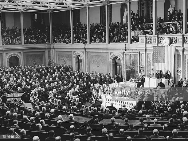 This is a general view of the House of Representatives in Washington, D.C., as President Franklin D. Roosevelt addressed a joint session of Congress...