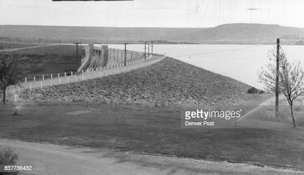 This is a general view of the spilaway end part of the 35mile Conchas dam An 18foot roadway runs along the entire top of the dam Located thirtytwo...