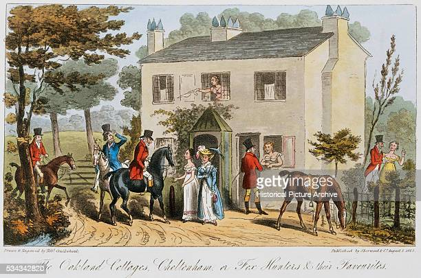 This is a hand-colored aquatint plate from The English Spy by Charles Molloy Westmacott.