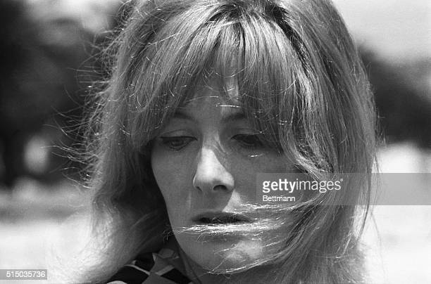 This is a headshot of actress Vanessa Redgrave with windblown hair at the Cannes Film Festival
