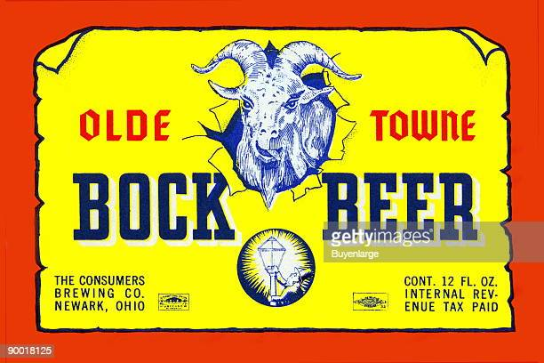This is a label for Olde Towne Bock Beer brewed by the Consumer's Brewing Company in Newark Ohio It features a very happy and possibly inebriated...