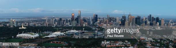 This is a panoramic image stitched from several frames An aerial view of the Melbourne city skyline on February 13 2018 in Melbourne Australia