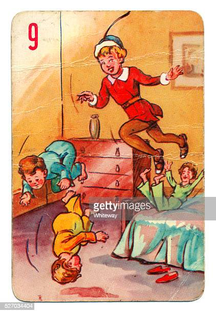 peter pan and wendy pepys playing card 1930s - 1930 1939 stock pictures, royalty-free photos & images