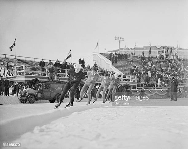 This is a photo of the 1932 Winter Olympics and the men's 1500 meter skating race with Alex Hurd of Canada leading