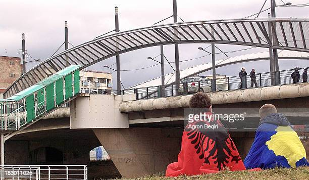 This is a photo taken near the main bridge in Mitrovica on the 2nd anniversary of Kosovo's independence day