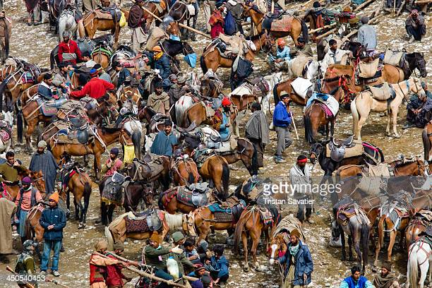 "This is a ""Pony Station"", in the upper valley, near the cave. Ponies and Muslim Kashmiris pony-men provide transportation to the Hindu pilgrims on..."