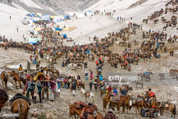 "This is a ""Pony Station"" on the snow, in the upper valley, near the cave. Ponies and Muslim Kashmiris pony-men provide transportation to the Hindu..."