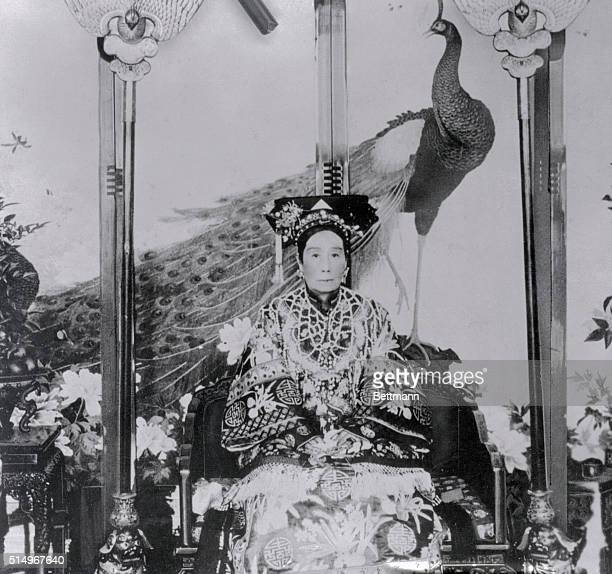 This is a portrait of the Dowager Empress of China, Wu Mei Niang. She is shown seated in traditional clothing.