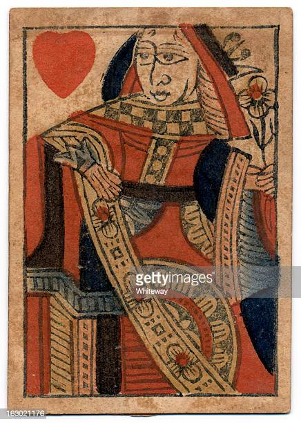 queen of hearts 18th century antique playing card - queen of hearts stock photos and pictures