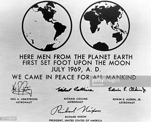 This is a replica of the plaque left behind on the moon by the Apollo 11 astronauts The plaque is made of stainless steel measuring nine by seven and...