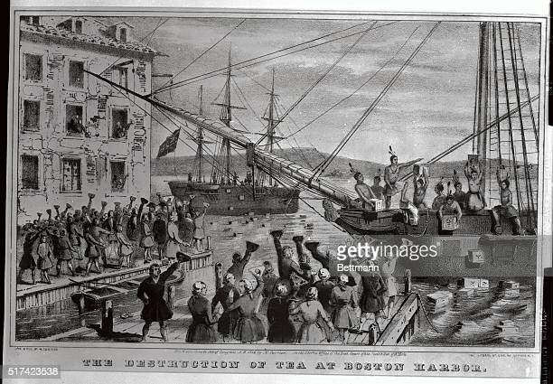 This is a reproduction of a Currier and Ives lithograph dramatizing the Boston Tea Party
