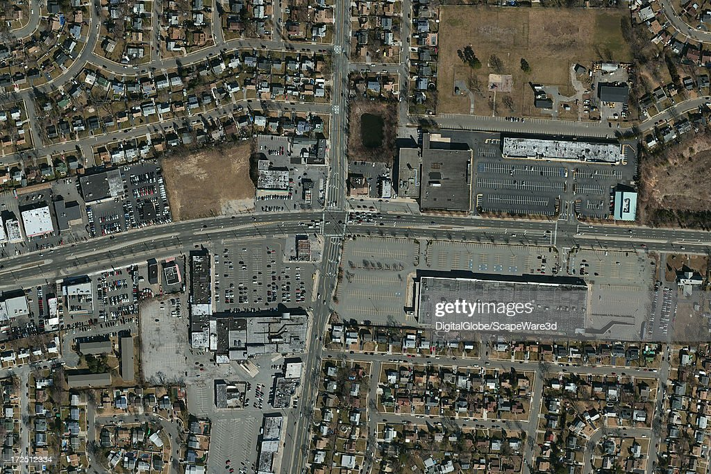 This is a Satellite Image close up view of Levittown, New York. Imagery captured February 8th, 2010.