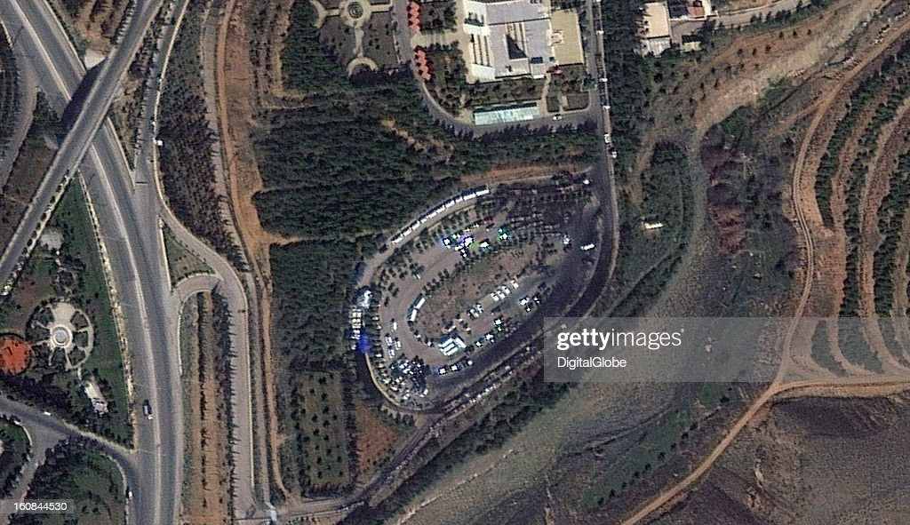 This is a satellite image of a facility 6 km north of Damascus, Syria that appears to be damaged on satellite imagery collected February 4, 2013.
