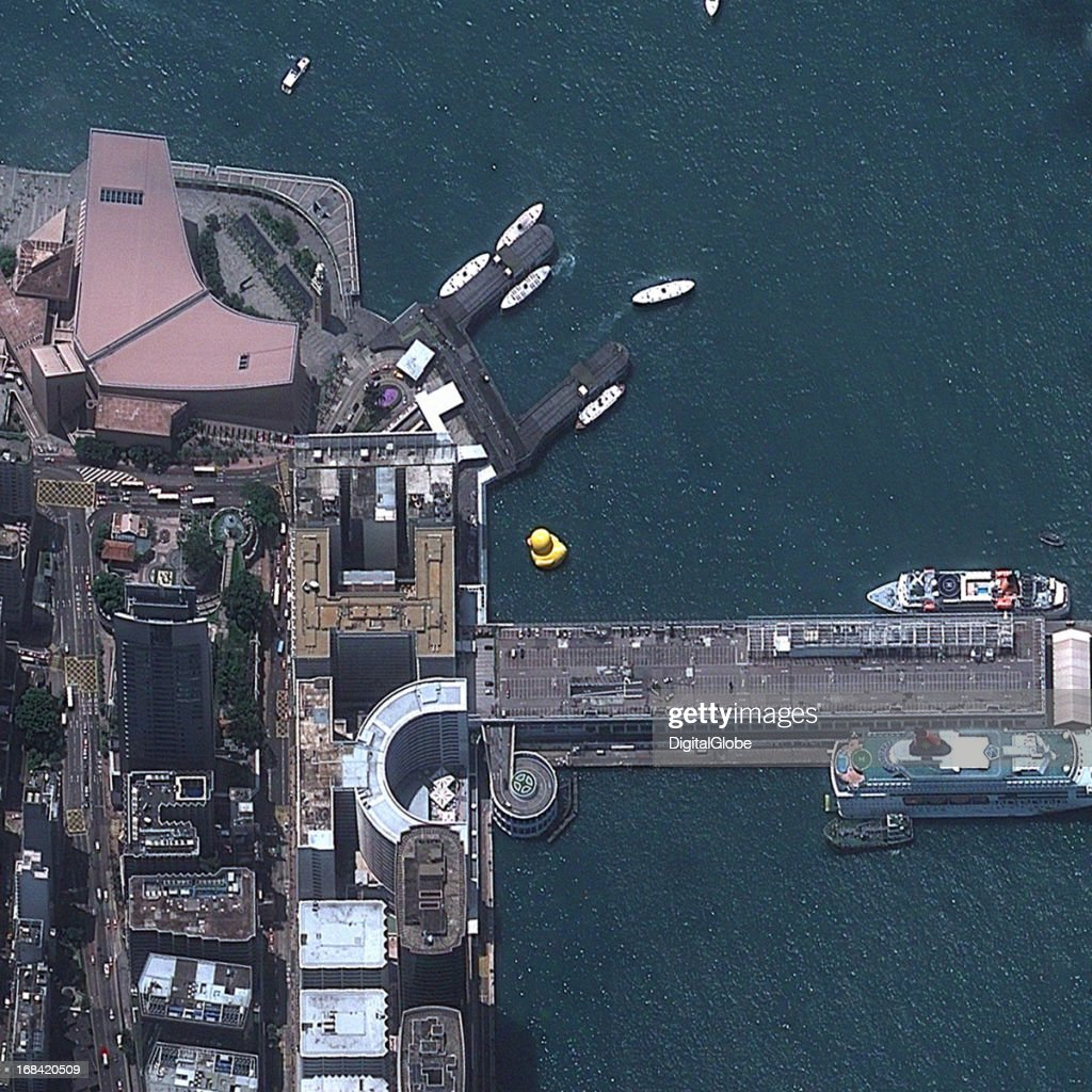 This is a satellite image of a giant rubber duck Victoria Harbor, Hong Kong an artistic expression by the Dutch artist Florentijn Hofmam collected on May 9, 2013.