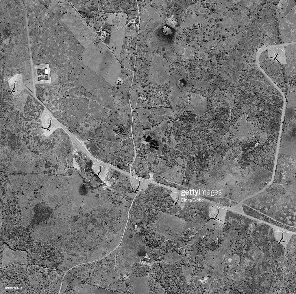This is a satellite image of a portion of Renova Engrgia's Alto Sertao II wind farm, which opened in July 2012. The company recently signed a USD $394 million contract with General Electric for 230 more wind turbines.