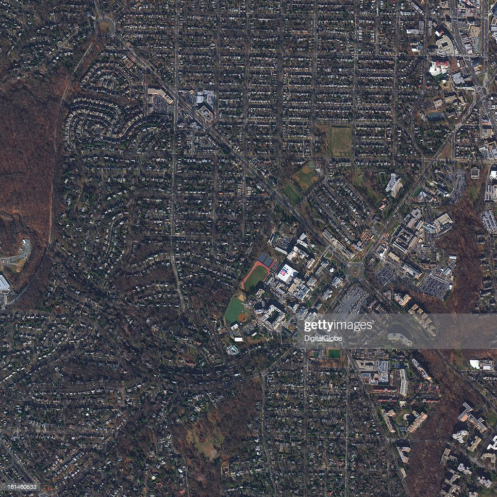 This is a satellite image of American University in Washington D.C. collected on January 10, 2013.